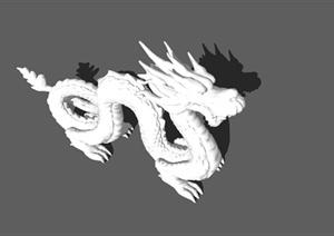 古代龙形雕塑设计SU(草图大师)模型