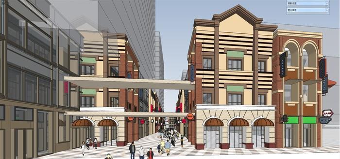 某欧式风格商业街建筑楼设计su模型[原创]