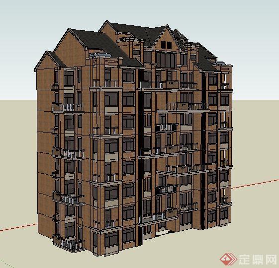 英式风格小高层住宅楼建筑设计su模型(2)图片