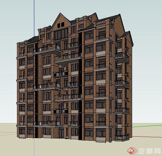 英式风格小高层住宅楼建筑设计su模型(1)图片