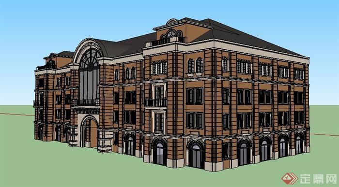英式作品四层办公楼建筑设计su特点[原创]建筑设计模型风格图片
