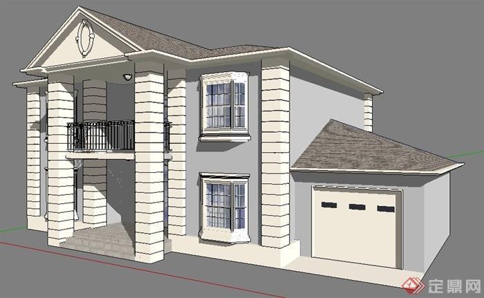 簡約雙層別墅住宅建筑su模型[原創]