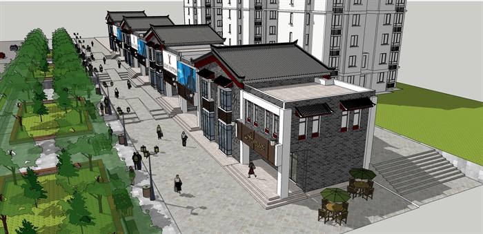 中式风格沿街商铺商业建筑su模型[原创]
