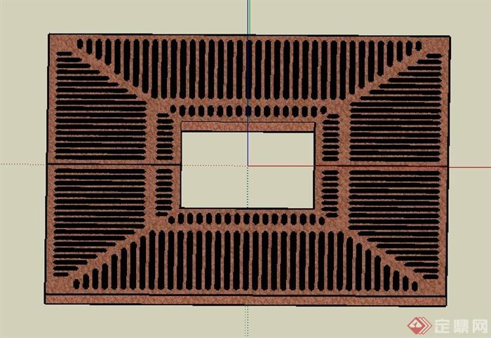 方形树池盖板su模型(1)