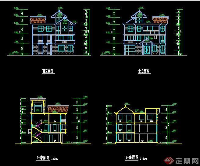新中式风格三层别墅住宅建筑方案图(1)