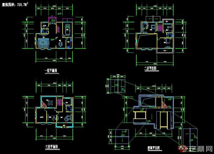 新中式风格三层别墅住宅建筑方案图(2)