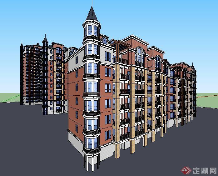 英式风格多层及高层拼接住宅楼建筑su模型(2)图片