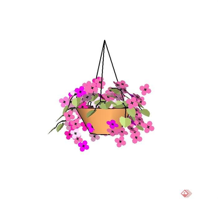 某吊篮花钵植物设计su模型(2)