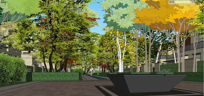 某现代风格别墅小区入口景观设计su模型