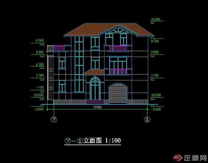 中式风格别墅设计cad方案[原创]