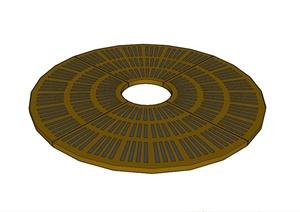 现代圆形树池盖板设计SU(草图大师)模型