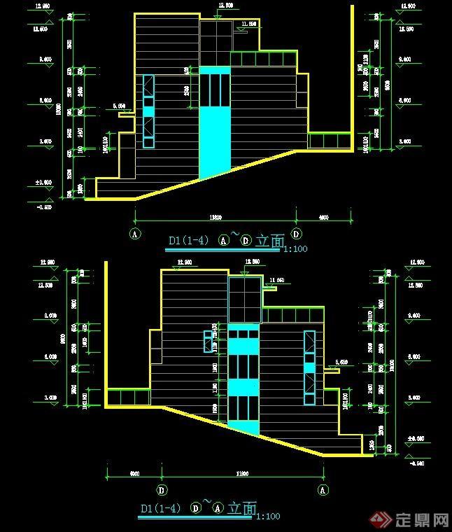 现代联排别墅建筑设计CAD方案