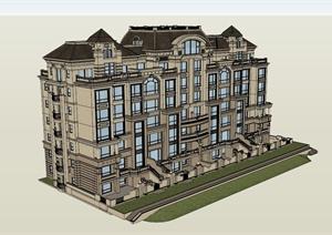 欧式高档公寓住宅楼设计SU(草图大师)模型-设计素材下载