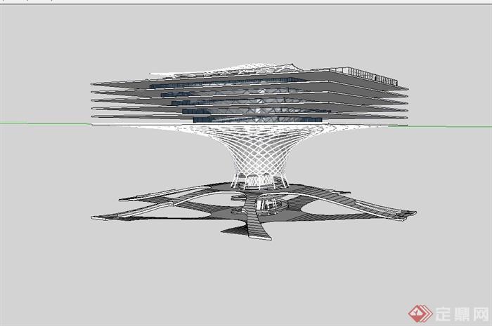 某现代风格独特造型体育馆建筑设计su模型(3)