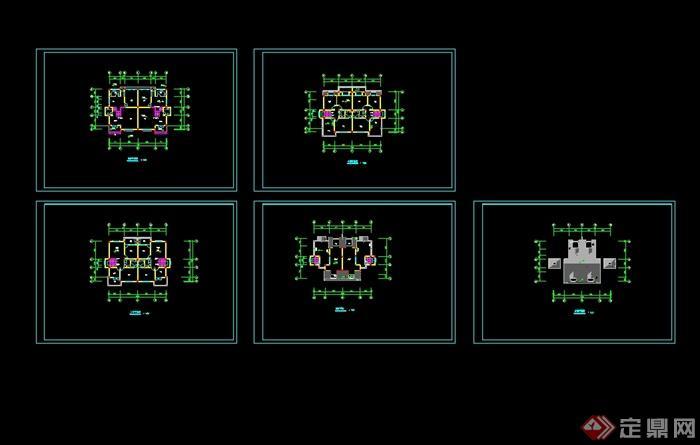 现代中式双拼别墅设计cad平面图图片