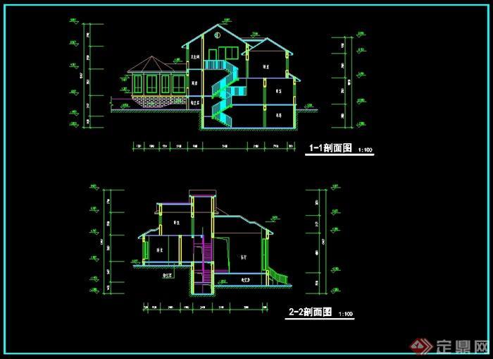 欧式风格别墅建筑设计cad平立剖方案图[原创]