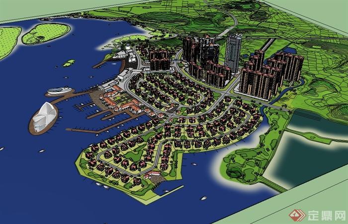 某现代风格滨水住宅小区规划设计su模型(3)