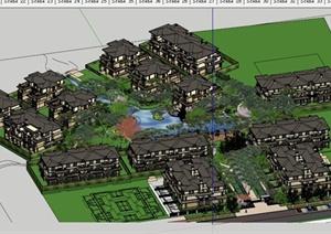 某欧式小区建筑景观设计SU(草图大师)模型