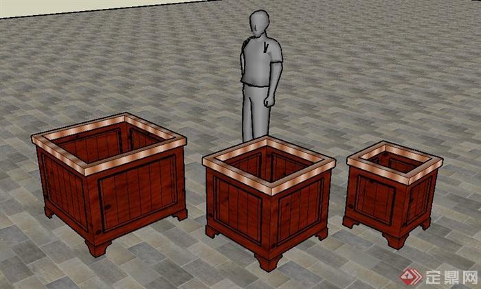 中式木板种植池su模型[原创]