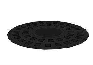 圆形镂空树池盖板设计SU(草图大师)模型