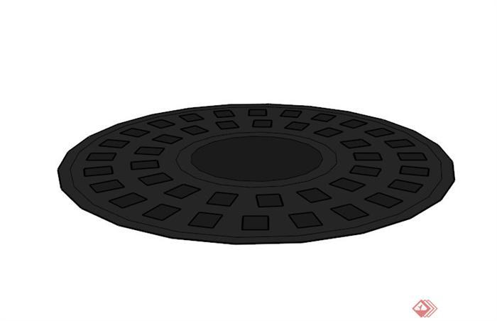圆形镂空树池盖板设计su模型[原创]