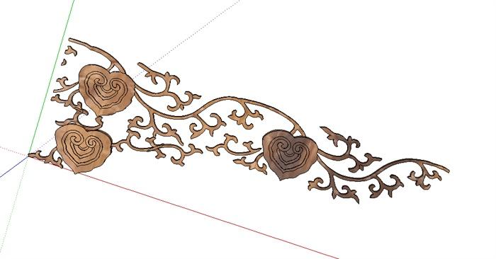 中式元素雕花木雕装饰设计su模型