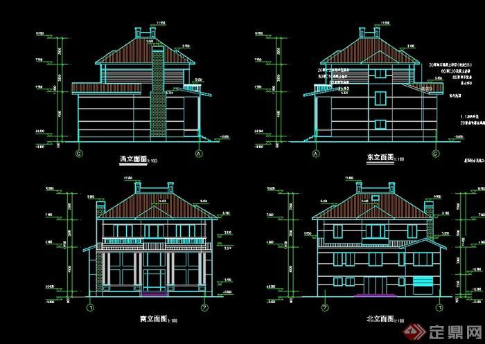 现代中式别墅设计cad平立剖[原创]