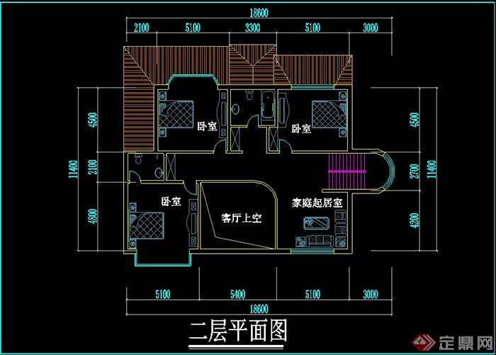新中式风格别墅设计cad平面图图片