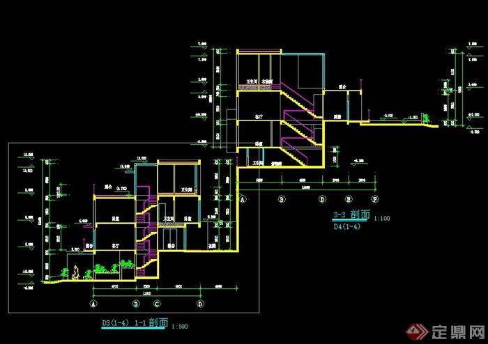 现代联排别墅建筑CAD方案设计