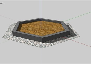 现代简约六边形树池设计SU(草图大师)模型
