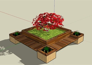 现代带坐凳树池设计SU(草图大师)模型