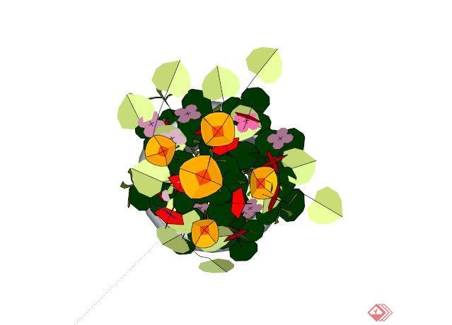 现代花卉植物盆栽素材设计su模型[原创]