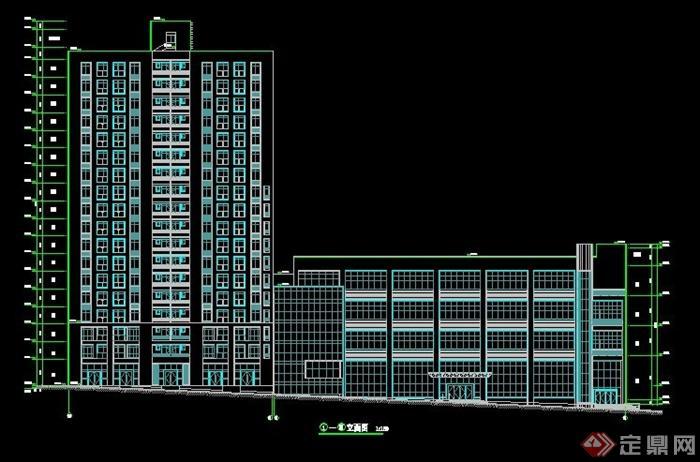 小高层住宅楼建筑设计cad方案+jpg效果图[原创]