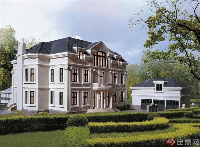 欧式三层住宅别墅建筑方案[原创]