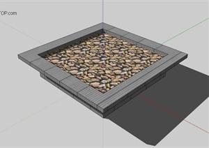 灰色石材树池设计SU(草图大师)模型