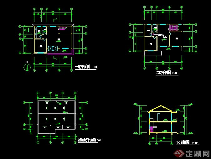 新中式风格两层别墅设计cad平立剖[原创]