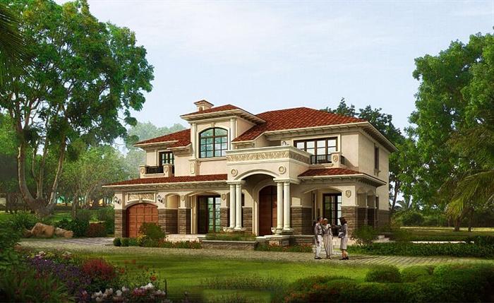 某西班牙风格住宅别墅建筑设计su模型