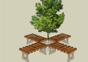 现代木制树池坐凳设计SU(草图大师)模型