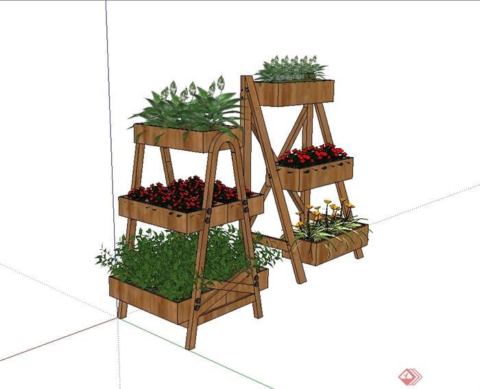 现代风格木质花架花池设计su模型(1)