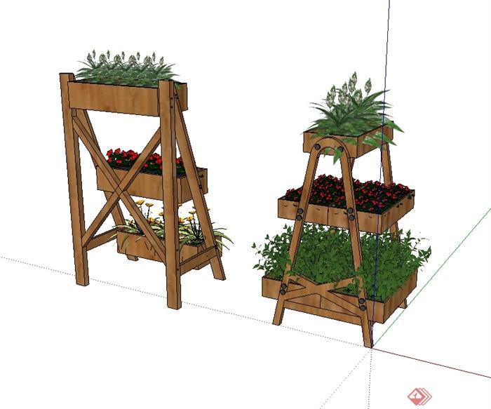 现代风格木质花架花池设计su模型(2)