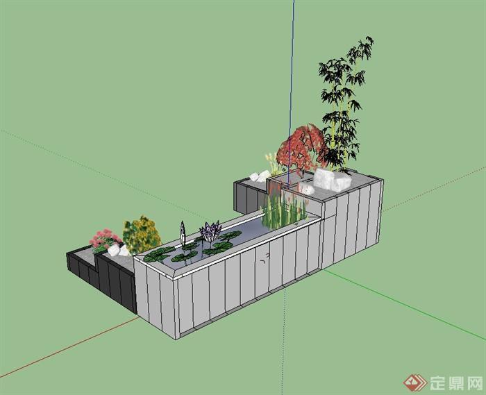 现代风格庭院花池设计su模型[原创]