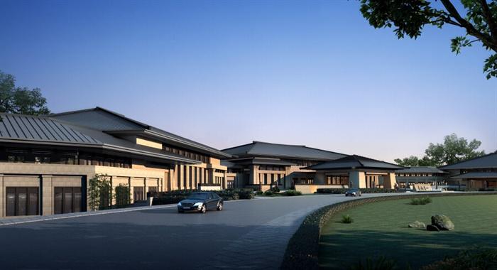 某现代中式风格国家高官宾馆酒店建筑设计su模型图片
