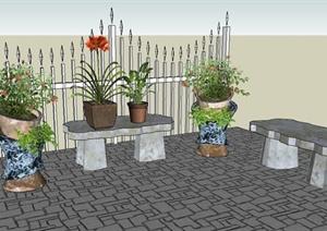 石凳、花钵、栏杆、盆景SU(草图大师)模型