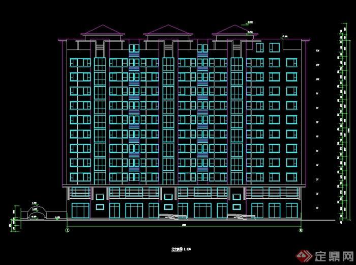 欧式风格小高层住宅建筑设计cad平立剖[原创]图片