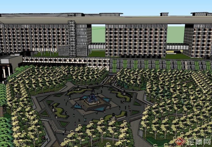 某办公楼前广场景观设计su模型素材[原创]