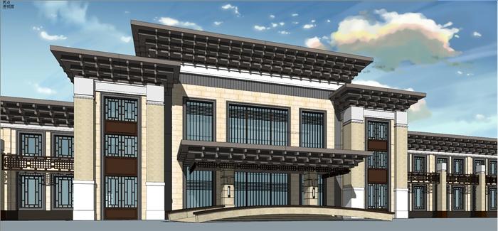 新中式风格休闲会所建筑设计su模型含缩略效果图图片