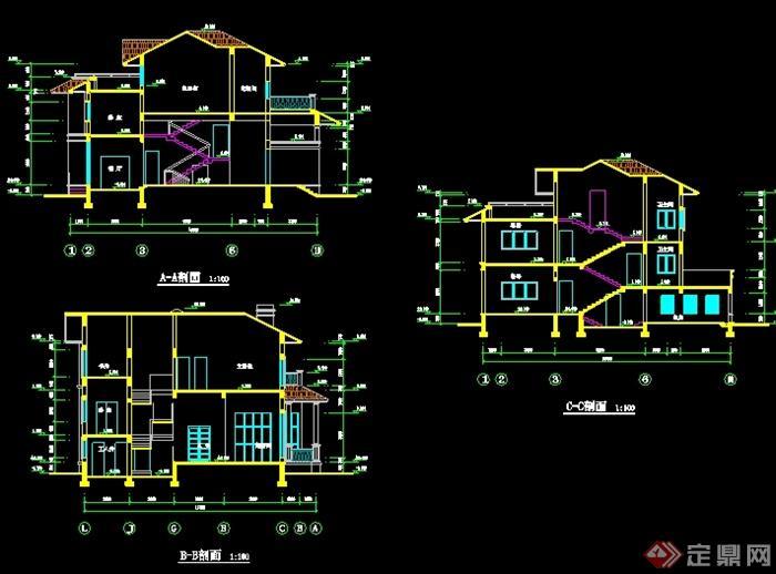 某现代中式风格独栋别墅设计cad平立剖[原创]