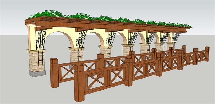 某欧式风格花架,栏杆设计su模型