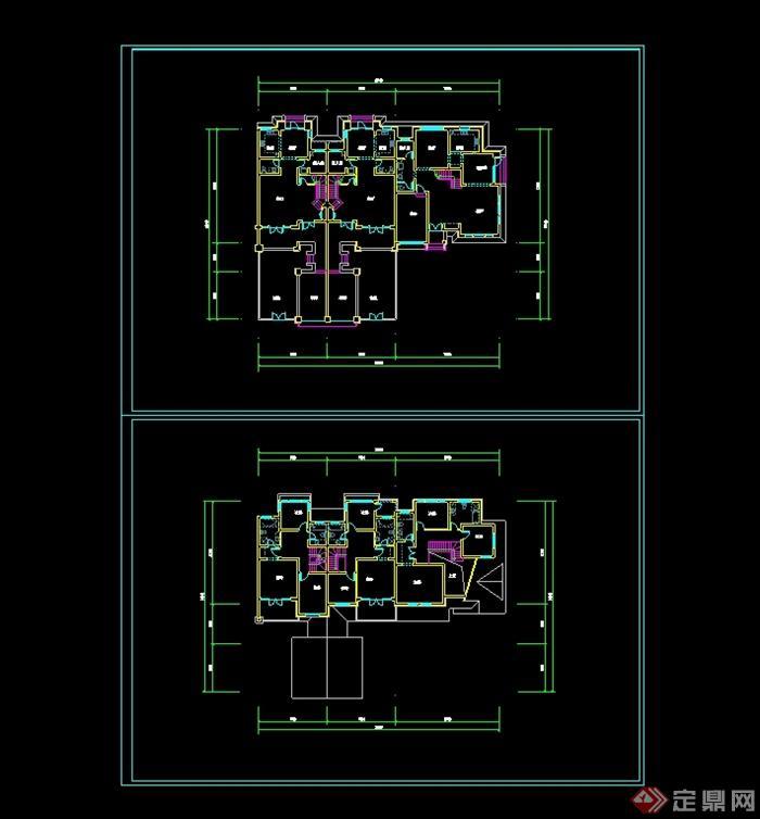 某现代中式联排别墅设计cad平面图图片