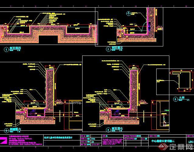 中心庭院水池水景设计CAD施工图